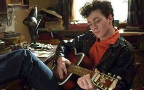 Aaron Johnson gets to grips with the guitar as teenage John Lennon