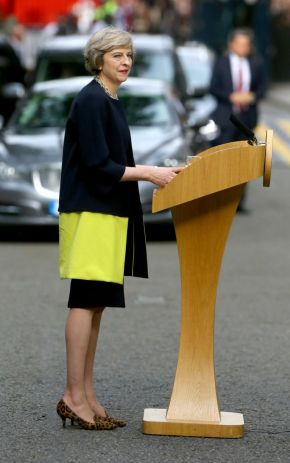Theresa May wearing Amanda Wakely block Print coat and LK Bennett shoes