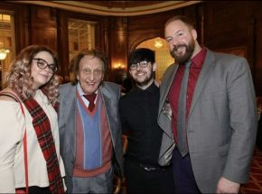 Purple Revolver journalists with Sir Ken Dodd at one of his last performances, in December 2017.