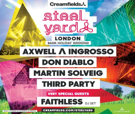 Creamfields' Presents the full lineup for this May Bank Holiday's Steel Yard London