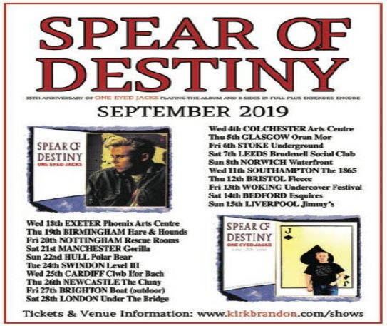 Spear Of Destiny to play One Eyed Jacks and more in Liverpool next week