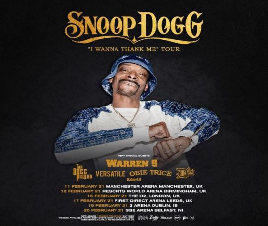 Snoop Dogg announces rescheduled UK & Ireland tour dates