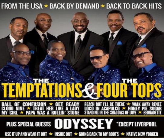 The Four Tops, Temptations & Odyssey reschedule UK tour to 2021