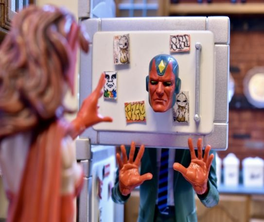 Action figure photography showcase - WandaVision kitchen clash on Valentine's Day