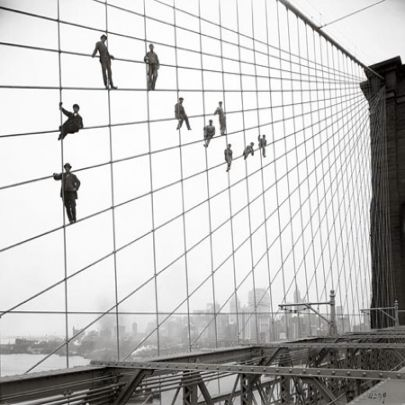 Painters on Brooklyn Bridge Oct, 7, 1914